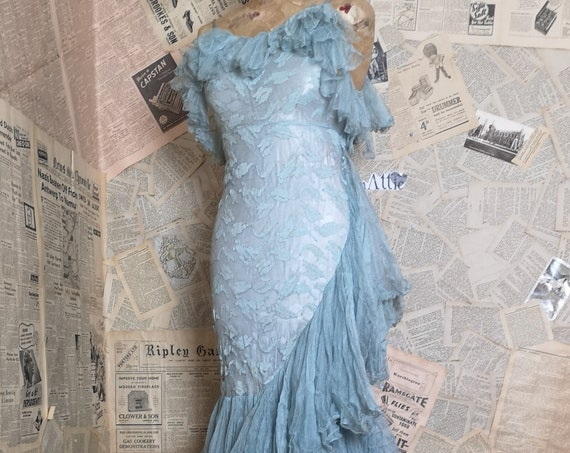 Vintage 1940's blue lace evening dress, flamenco, bombshell dress