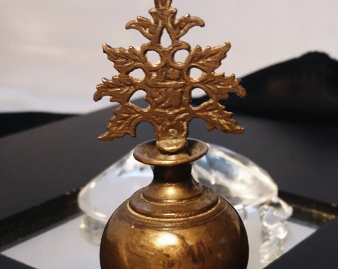 Antique kohl flask, solid brass, Indian 19th century, eyeliner flask