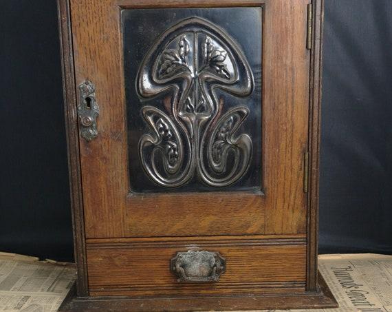 Antique Art Nouveau smoking cabinet, smokers, tobacciana storage