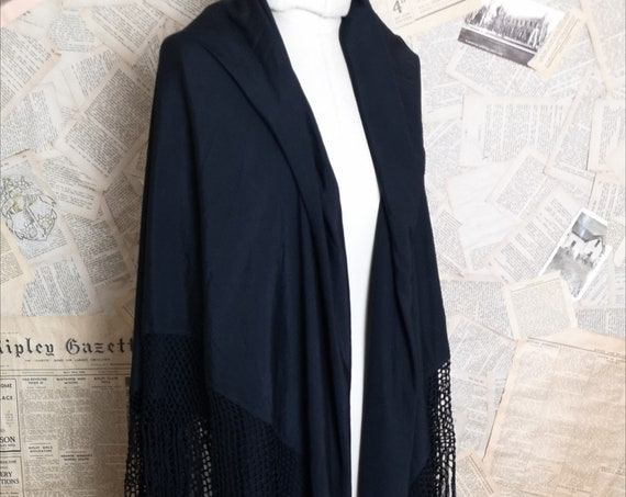 Vintage Art Deco Black silk shawl, large