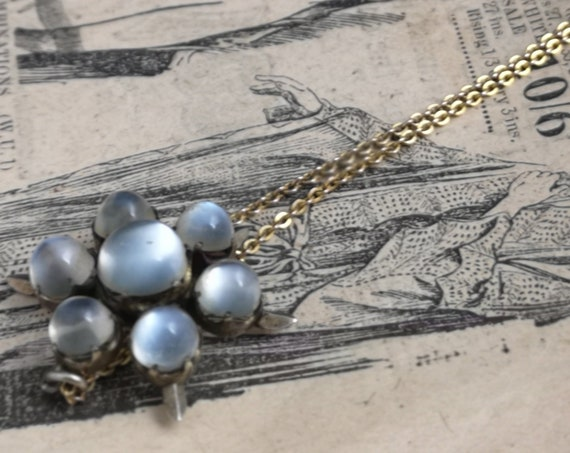 Antique moonstone necklace, Victorian pendant, 9ct gold chain, forget me not