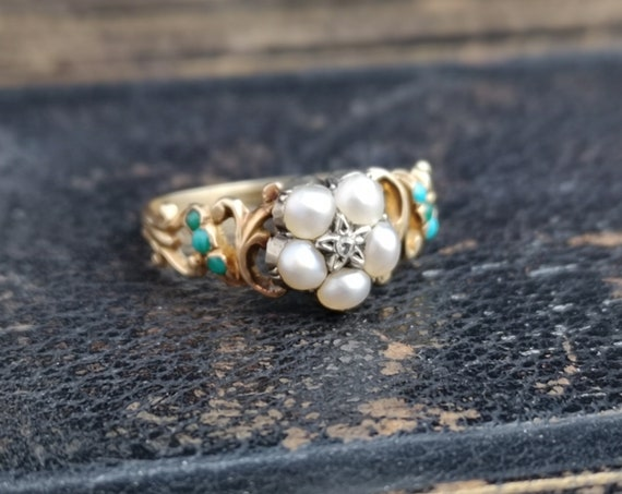 Victorian turquoise, diamond and pearl ring, 18ct, forget me not flower