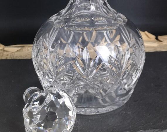 Vintage cut glass decanter, Art Deco, 1930's