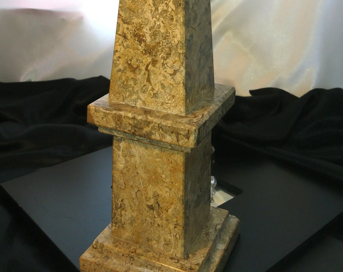 Antique marble obelisk, large polished fossil marble, Marble statue