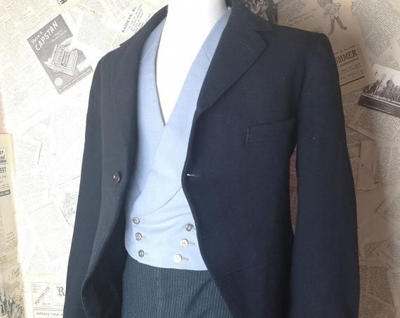 Vintage 30's mens suit, tailcoat, fishtail trousers, waistcoat, 3pcs suit, dinner suit