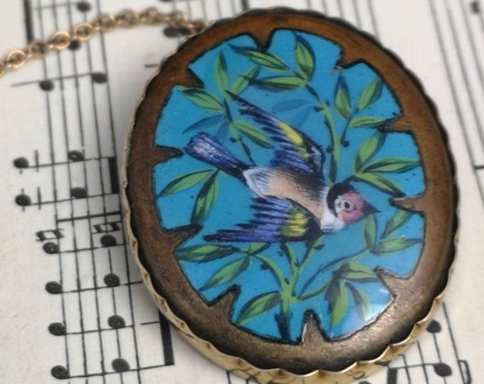 Antique gold and enamel bird brooch, hand painted, 9ct gold, Victorian bird brooch