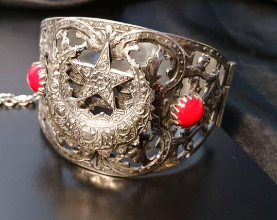 Vintage Turkish bangle, oversized Boho hinged bangle, silver and red