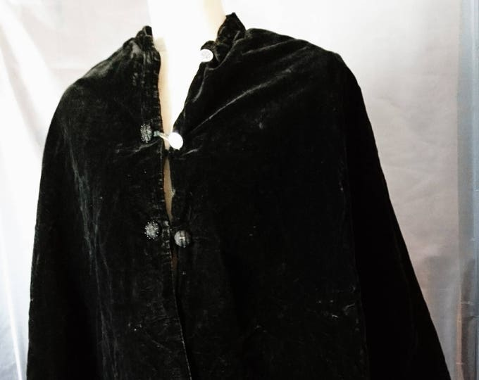 Victorian velvet mourning Cape, black velvet, silk lined, antique cape