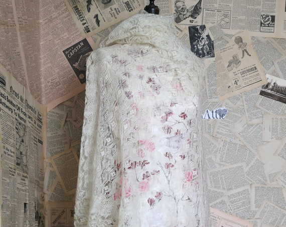 Antique fine wool cobweb shawl, cream Victorian shawl
