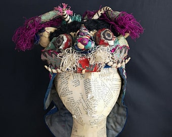 30fb645a643 Antique Chinese silk embroidered festival hat