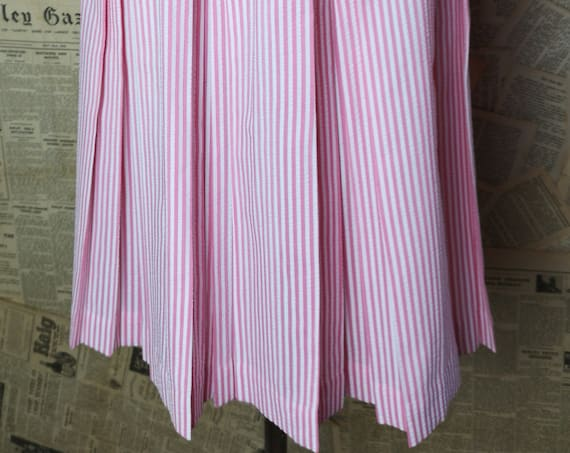 Vintage 50's box pleat skirt, full, pink and white candy stripe