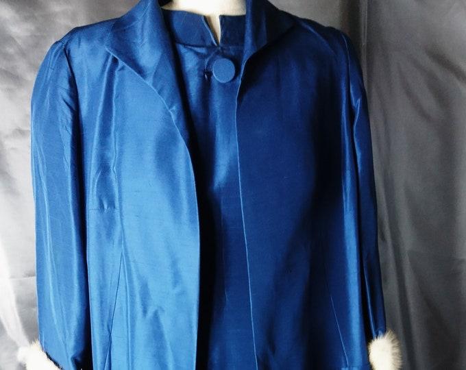 Vintage silk dress, duster coat, 1950's pure silk cobalt blue two piece dress, Koupy, bombshell dress and coat, mink cuffs