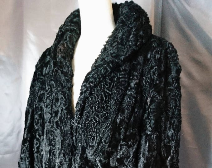 Vintage 1930's astraka, Persian lamb coat, rich black, satin lined, swing coat
