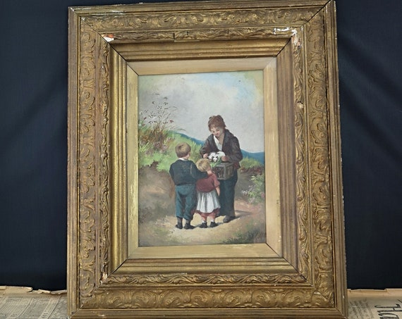 Antique oil painting, children, ferrets, Victorian oil on board, signed