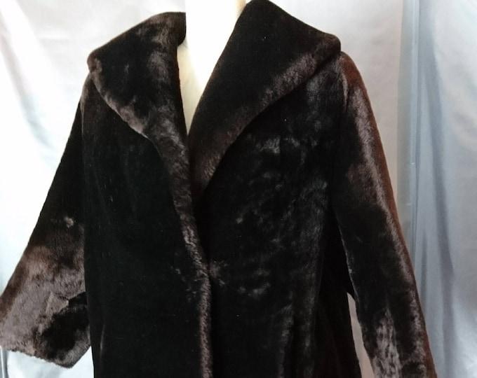 Vintage 1940's beaver lamb coat, super soft, satin lined, swing style coat, Sale