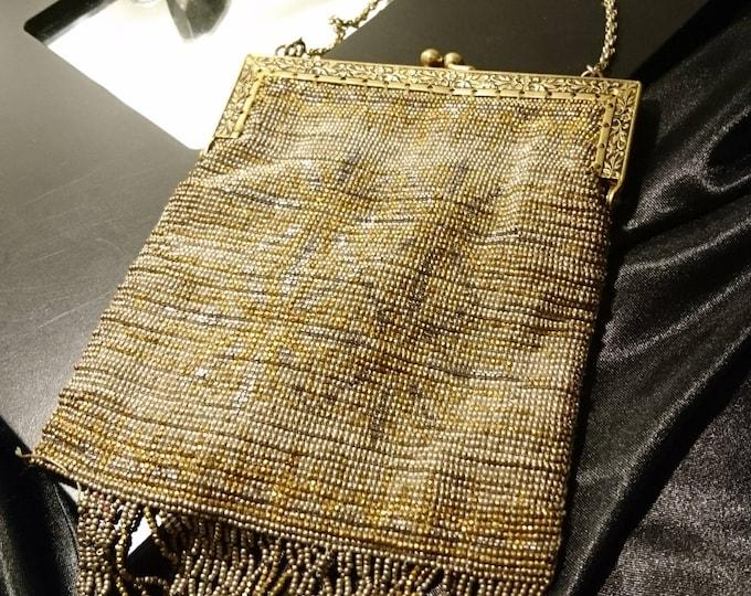 Art Deco 1920's beaded evening bag, vintage metal beadwork flapper purse, metallic mesh purse