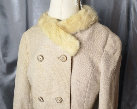 Vintage 50's fitted jacket, worsted wool, mink fur collar