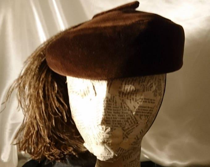 Glamorous 1950's Mitzi Lorenz velvet pillbox hat, vintage pillbox hat, velvet and ostrich feather pillbox hat, 50's Mitzi Lorenz