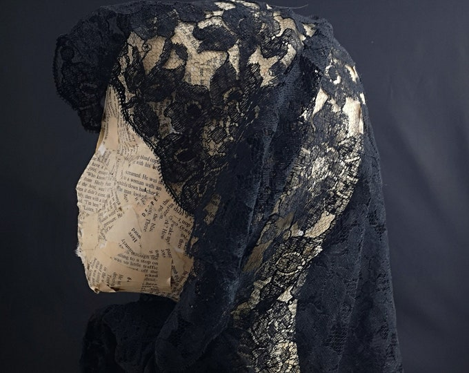 Antique black lace mourning shawl, Victorian headscarf, floral