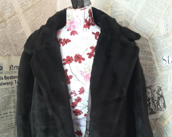 Vintage 50's faux fur jacket, brown short length jacket