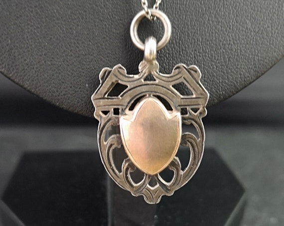 Antique silver and rose gold fob necklace, shield watch fob