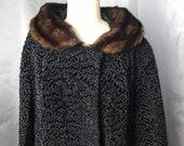 Vintage 50 39 s astraka swing coat, Persian lamb, rich black, satin lined, mink fur collar