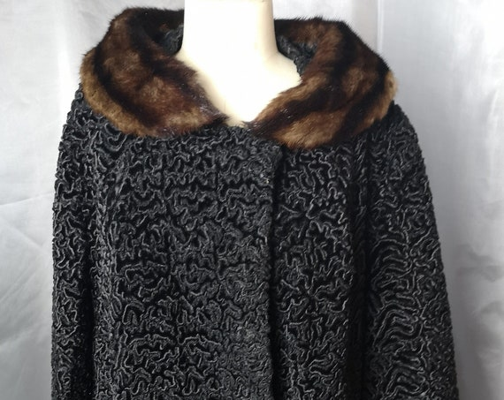 Vintage 50's astraka swing coat, Persian lamb, rich black, satin lined, mink fur collar