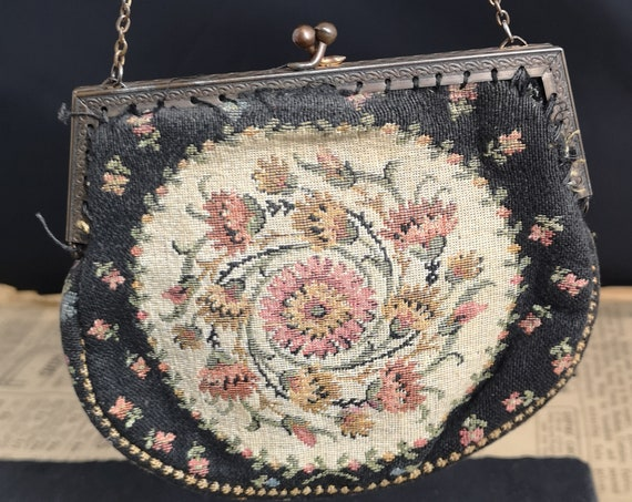 Vintage French petit point purse, tapestry evening bag, 1930's