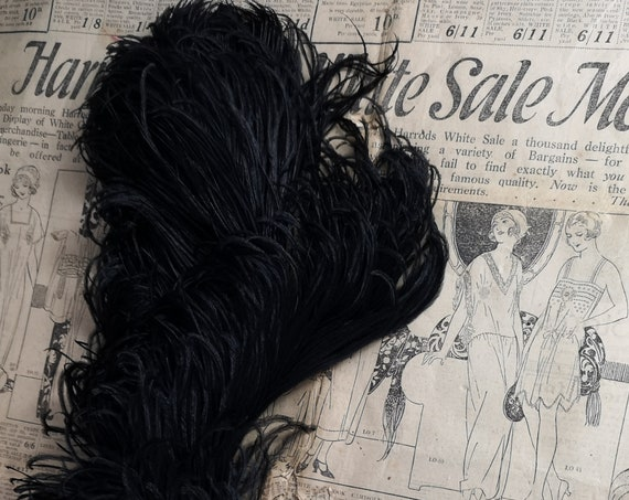 Antique black ostrich feather, millinery, crafts