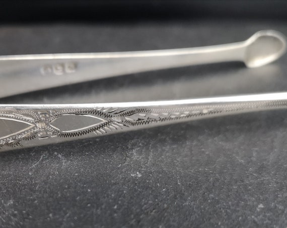 Antique sterling silver sugar tongs, sugar nips, Georgian era
