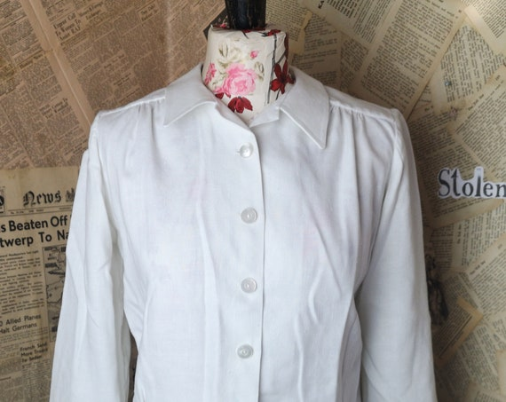 Vintage 40's white blouse, industrial, wartime