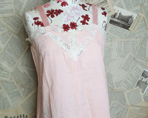 Vintage 1930's night slip, pink cotton and lace, nightdress