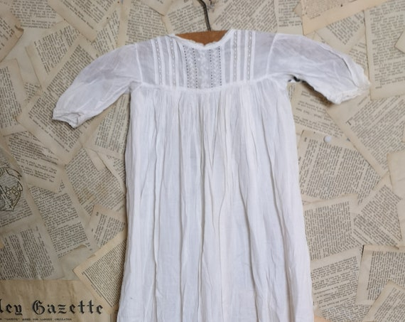 Antique christening gown, broderie anglaise, Victorian baby dress, doll clothes, Teddy bear