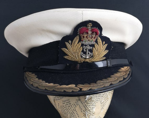 Vintage Royal Navy Commanders cap, military peaked hat, 50s