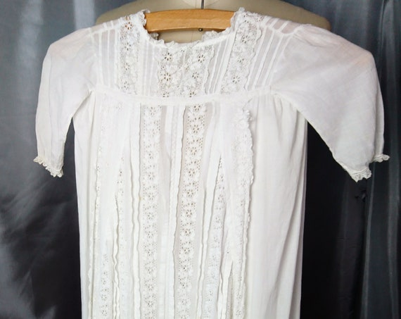 Antique English baby christening gown, fine batiste cotton, broderie anglaise, Victorian baby dress