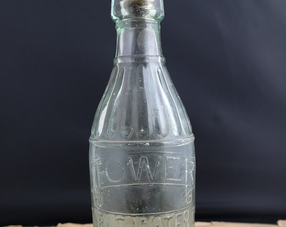 Antique water bottle, moulded glass, Tower tablewater Leeds, Wooden screw top lid