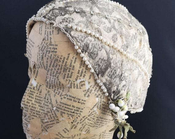 Vintage 1920's skull cap, pearl, paste and wax flowers