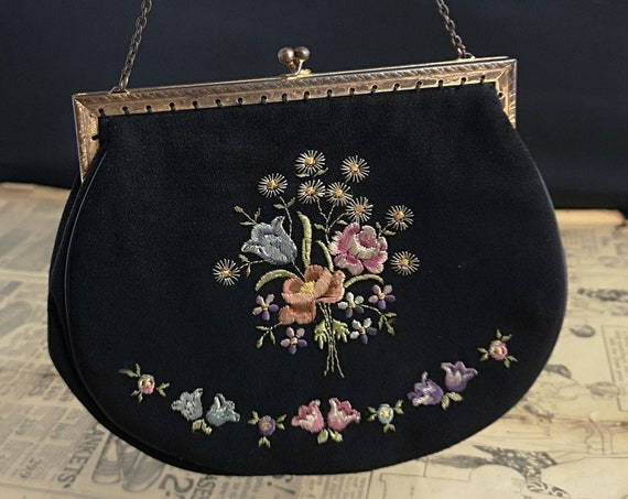 Vintage embroidered evening bag, black and bronze
