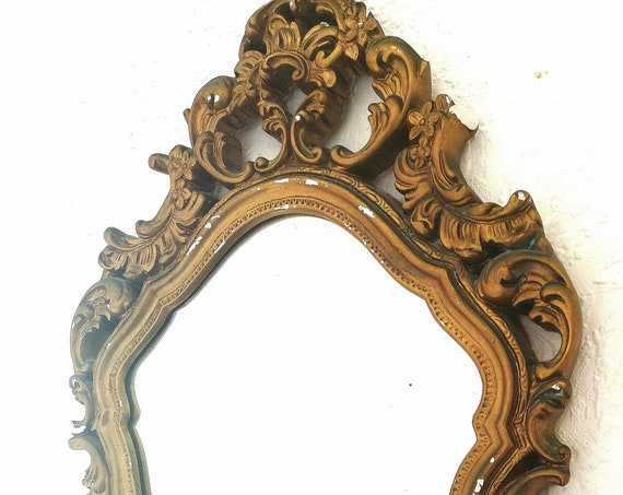 Antique French gilt plaster mirror, scrolling oval mirror