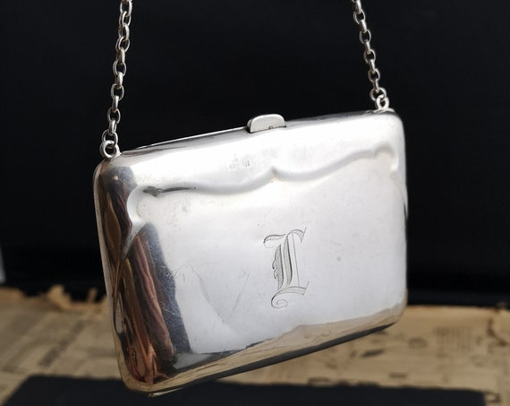 Antique sterling silver purse, box purse