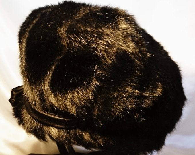 Vintage 50's Edward Mann black faux fur hat, ladies vintage hats