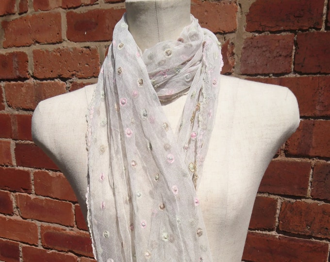 Antique lace scarf, super long length, pastel embroidery, Victorian era lace scarf, bridal