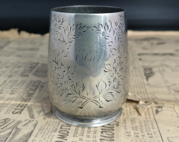 Antique Victorian silver plated cup, childs, christening cup, Elsie