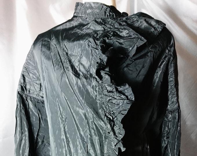 Antique edwardian blouse, black Tafetta mourning blouse