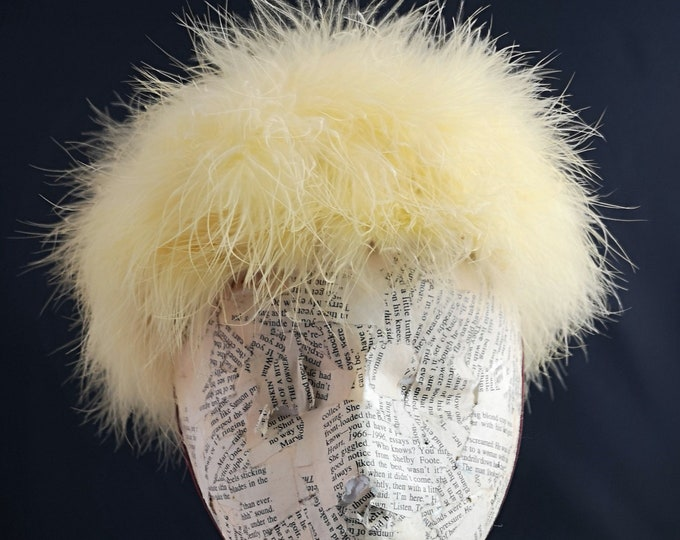 Vintage yellow marabou hat, 50's fluffy canary yellow pillbox hat