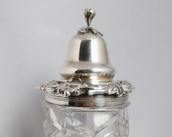 Antique sterling silver mustard, early Victorian, decorative glass mustard pot, condiments