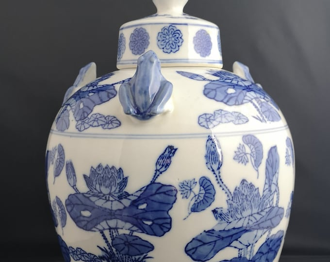Vintage Chinese ginger jar, huge blue and white ceramic jar, frogs and koi