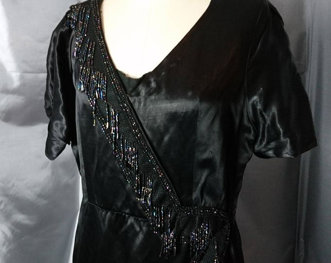 Vintage 20's beaded evening dress, art deco, flapper style dress, hand sewn