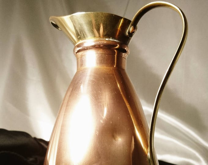 Victorian copper and brass pitcher / jug, antique metalware
