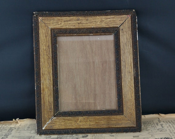 Antique picture frame, oak and gesso, photo frame
